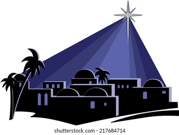An illustration of the town of Bethlehem at night, at the time of the birth of Jesus, with a bright star shining down on the buildings on a dark blue background.