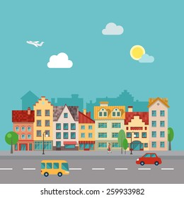 Illustration of a town street, made in flat design.