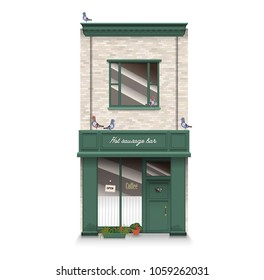 Illustration of a townhouse with cafe bar and trees. Flat art style. Housing, real estate market, architecture design, property investment concept banner.