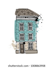 Illustration of a townhouse. Hand drawn vector illustration