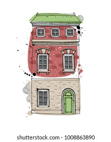 Illustration of a townhouse. Sketch style vector illustration