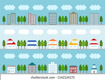 Illustration of townscape: building, office building, house, public facility