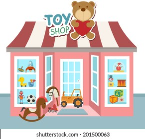 illustration of toy shop vector