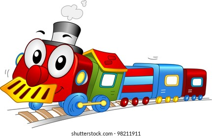 Illustration of a Toy Train Mascot