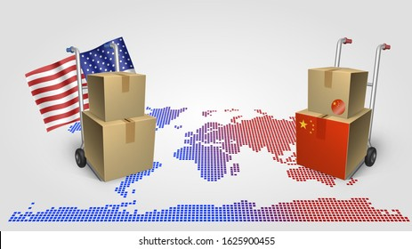 Illustration of a trade war between the USA and China, the struggle for world trade