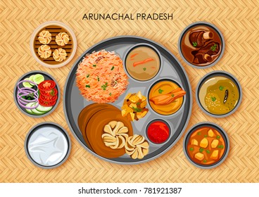 illustration of Traditional Arunachali cuisine and food meal thali of Arunachal Pradesh India