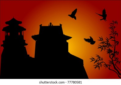 illustration with traditional Chinese building and bamboo