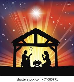 Illustration of traditional Christian Christmas Nativity scene