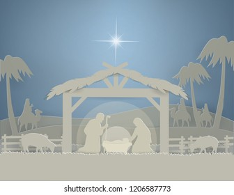 Illustration of Traditional Christmas Nativity Scene of baby Jesus in winter background, paper art and vector style
