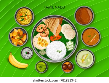 illustration of Traditional cuisine and food meal thali of Tamil Nadu India