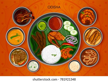 illustration of Traditional cuisine and food meal thali of Odisha India