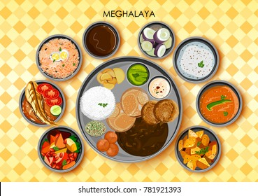 illustration of Traditional cuisine and food meal thali of Meghalaya India