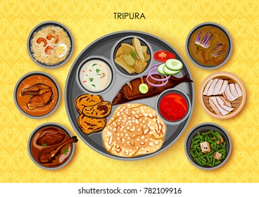 illustration of Traditional cuisine and food meal thali of Tripura India