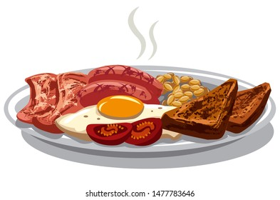 illustration of traditional english breakfast with fried eggs and bacon