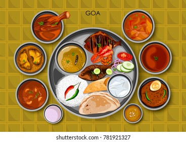illustration of Traditional Goan cuisine and food meal thali of Goa India