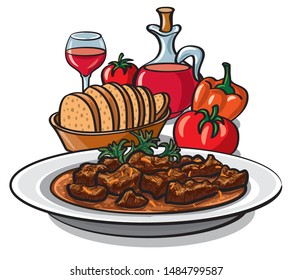 illustration of traditional goulash meat dish in plate with vegetables and wine