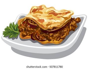 illustration of traditional greek moussaka baked dish
