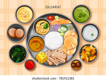illustration of Traditional Gujarati cuisine and food meal thali of Gujarat India
