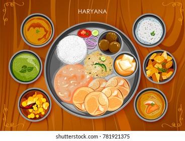 illustration of Traditional Haryanavi cuisine and food meal thali of Haryana India