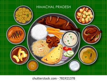 illustration of Traditional Himachali cuisine and food meal thali of Himachal Pradesh India