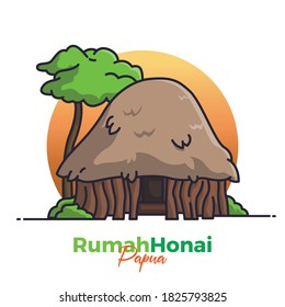 Illustration of traditional house in the Papua, Indonesia with a modern touch. There are Rumah Honai. Can be used for landing page, web, icon, banner, editorial, and flyer.