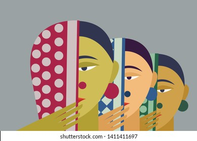 Illustration of traditional Indian rural women