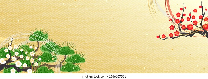 """Illustration of a traditional Japanese flower arrangement called """"Ikebana"""".It is made of materials used for the New Year, such as pine and plum branches and thin string decorations called """"Mizuhiki""""."""