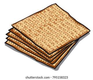 illustration of traditional jewish matzoh on white background