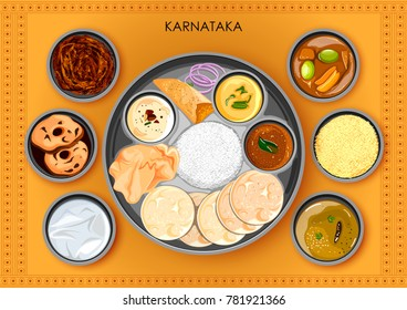 illustration of Traditional Karnatakan cuisine and food meal thali of Karnataka India