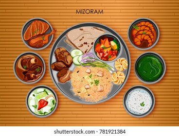 illustration of Traditional Mizorami cuisine and food meal thali of Mizoram India