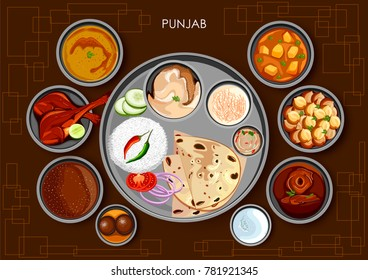 illustration of Traditional Punjabi cuisine and food meal thali of Punjab India