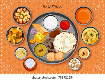 illustration of Traditional Rajasthani cuisine and food meal thali of Rajasthan India