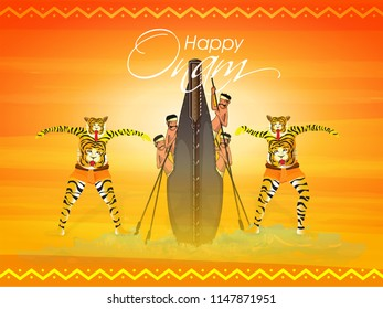 Illustration of traditional tiger dance (Pulikali) and boat racing (Vallamkali) of Kerala on shiny background for famous South Indian festival Onam celebration.
