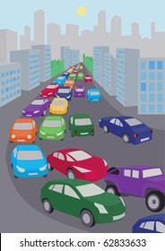 illustration of traffic jam with  lots of colored cars