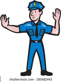Illustration of a traffic policeman police officer making a stop hand signal gesture  done in cartoon style on isolated background.