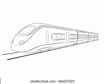 illustration of train. black and white drawing, white background