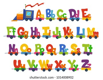 Illustration of a Train Carrying the Alphabet in Big and Small Letters