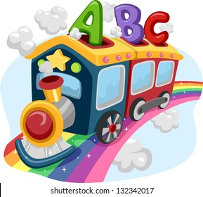 Illustration of a Train on a Rainbow loaded with ABC