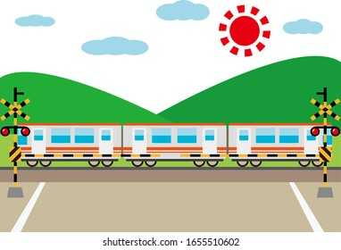 Illustration of a train passing a railroad crossing