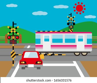 Illustration of a train passing a railroad crossing .   Car stopping at railroad crossing