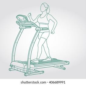 Illustration of training girl on sport equipment, clean line art for web and print design appealing for sport theme