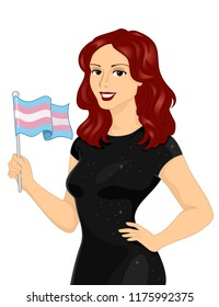 Illustration of a Transgender Girl Holding a Transgender Flag