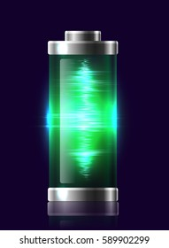 Illustration transparent charged batteries with electric charge, resonance. Vector element for your creativity