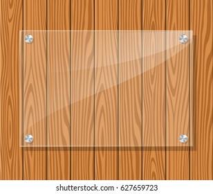 Illustration of transparent frame on wood background