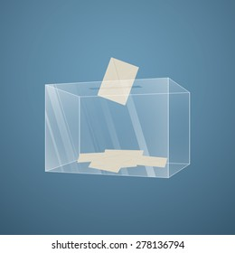 Illustration of a transparent glass ballot box with an envelope, gradient background