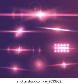 Illustration of Transparent Vector Lens Flare Effect Set