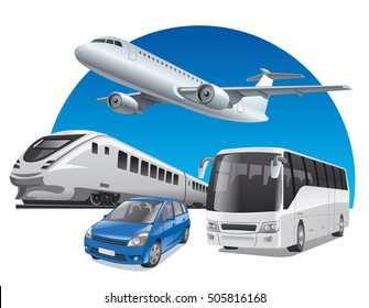 illustration of transport for travel, car, train, bus and airplane