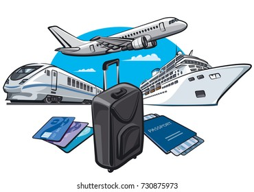 illustration of transport for travel and journey with passport and luggage