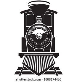 Illustration transport vehicle steam train on rails. Ideal for educational and institutional materials