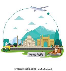 illustration. travel around Republic Of India